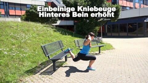 Parkbank Workout einbeinige Kniebeuge hinteres Bein erhoeht 2