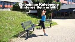 Parkbank Workout einbeinige Kniebeuge hinteres Bein erhoeht 1