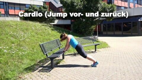 Parkbank Workout Jump vor zurueck 1