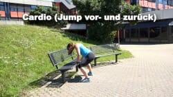 Parkbank Workout Jump vor zurueck 2