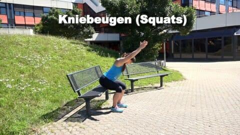 Parkbank Workout Kniebeugen 2