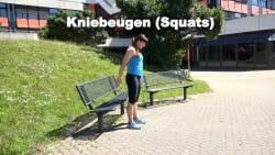 Parkbank Workout Kniebeugen 1