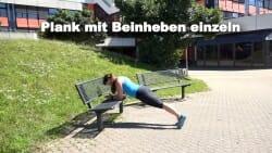 Parkbank Workout Plank mit Beinheben einzeln 1