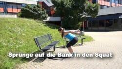 Parkbank Workout Spruenge auf die Bank 1
