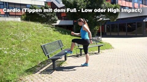 Parkbank Workout Cardio Tippen mit dem Fuss 1