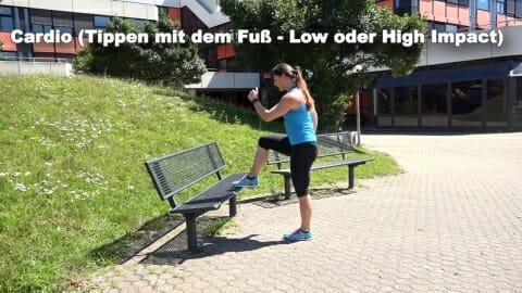 Parkbank Workout Cardio Tippen mit dem Fuss 2