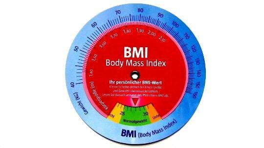Schablone zum schnellen Ablesen des Body Mass Index (BMI)