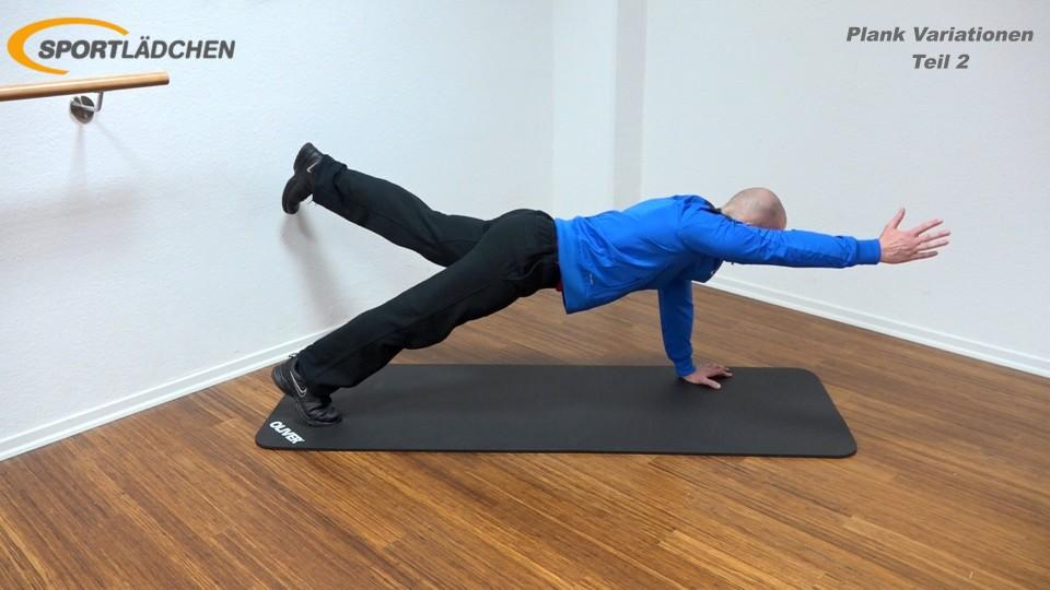 Plank Übung effektiv Arm und Bein diagonal heben 2