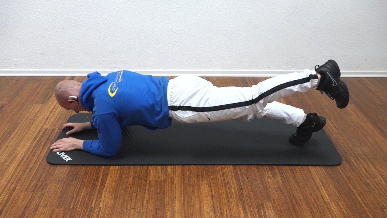4 Unterarmstuetz Plank linkes Bein angehoben