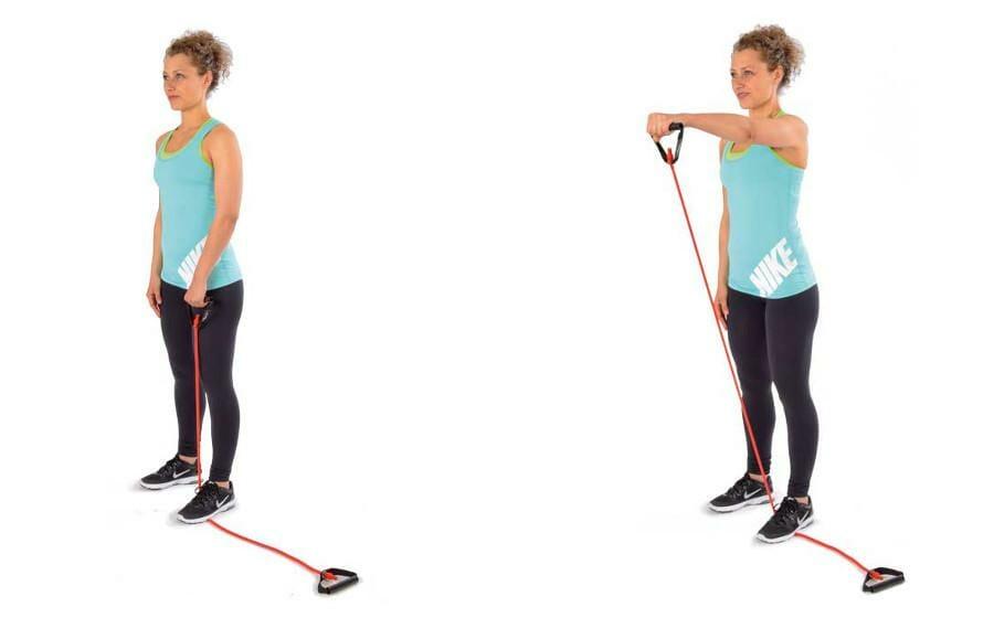 Trainingsband Variationen mit dem Bodytube - Frontheben für die Schultern - vorderer Anteil