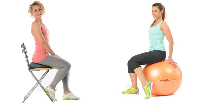 Gesundes Sitzen auf dem Gymnastikball oder dem Sitzkissen