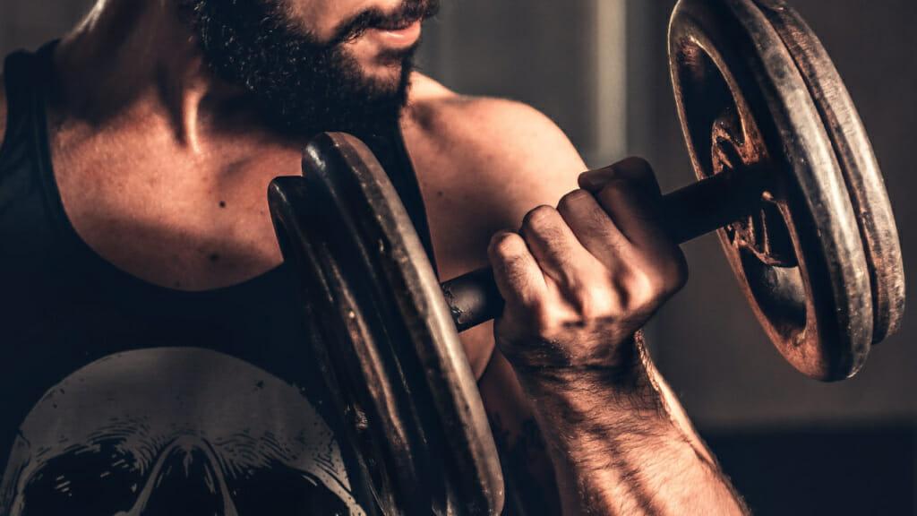 Männliche Person beim Kurzhantelcurl - Muskelhypertrophie ist das Ziel