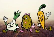 Cartoonzeichnung von verschiedenen personifizierten Gemüsesorten