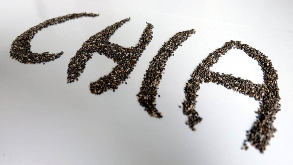 Kunstvoll inszenierter Chia Schriftzug aus Chia Samen