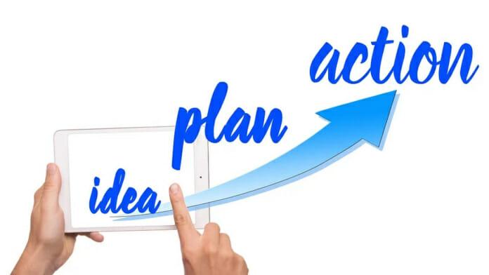 Grafik mit den Wortbausteinen idea plan action