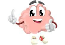 Cartoonzeichnung eines laufenden Gehirns