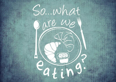 "IIFYM Bild mit dem Slogan ""So what are we eating?"""