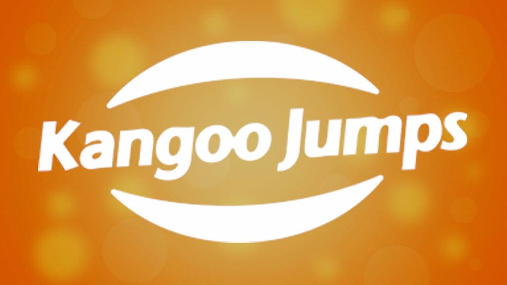Logo von Kangoo Jumps auf orangefarbenem Hintergrund