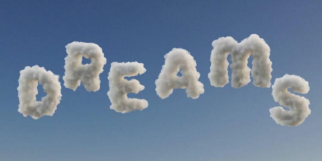 """Virtueller Schriftzug """"Dreams"""" aus Wolken"""