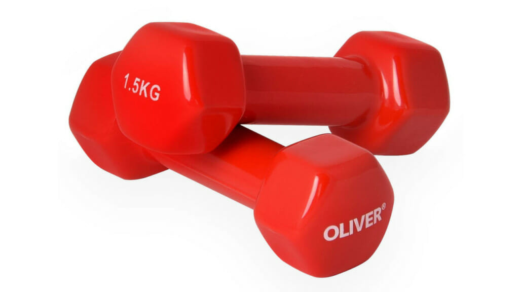 Ideal für die Hantel Übungen: OLIVER Vinyl Hanteln hier in der Farbe rot