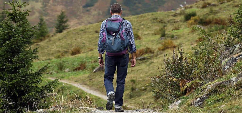 In der Rückansicht: Aktiver und motivierter Wanderer - ausgestattet mit Rucksack.