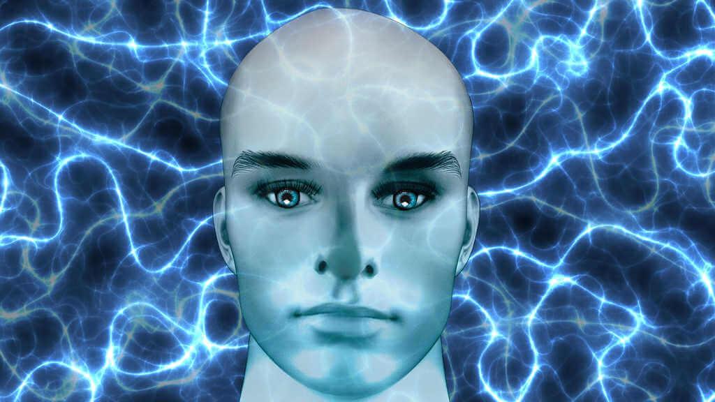 Body Mind Balance: Eine perfekte Mischung zwischen Körper und Geist. Auf dem Bild ein illustrativ dargestellter Männerkopf, der mit fokussiertem Blick den Bildbetrachter fixiert.