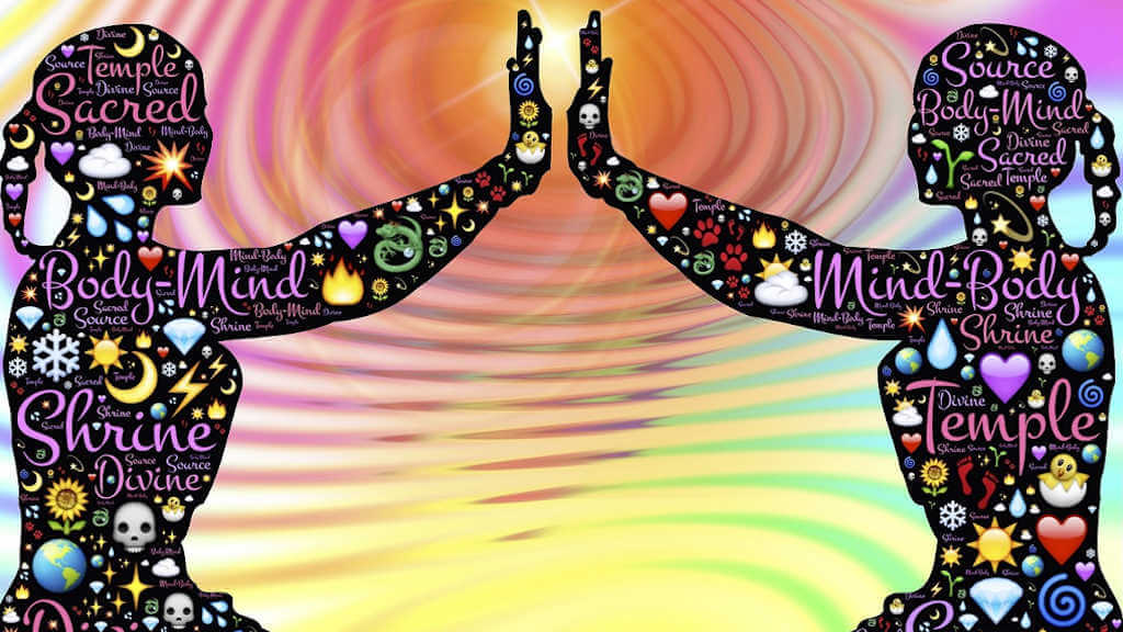 Eine absolut untrennbare Einheit: Körper und Geist. Auf dem Bild zwei illustrativ dargestellte Personen, die ihre Handflächen gegenseitig berühren