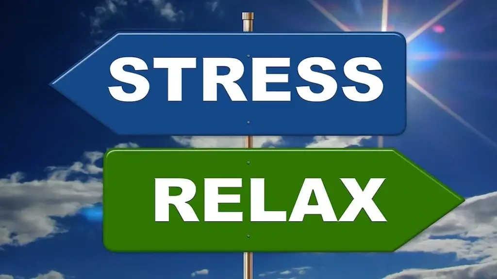 Schriftzug mit Pfeilrichtung links: Stress, mit Pfeilrichtung rechts Relax